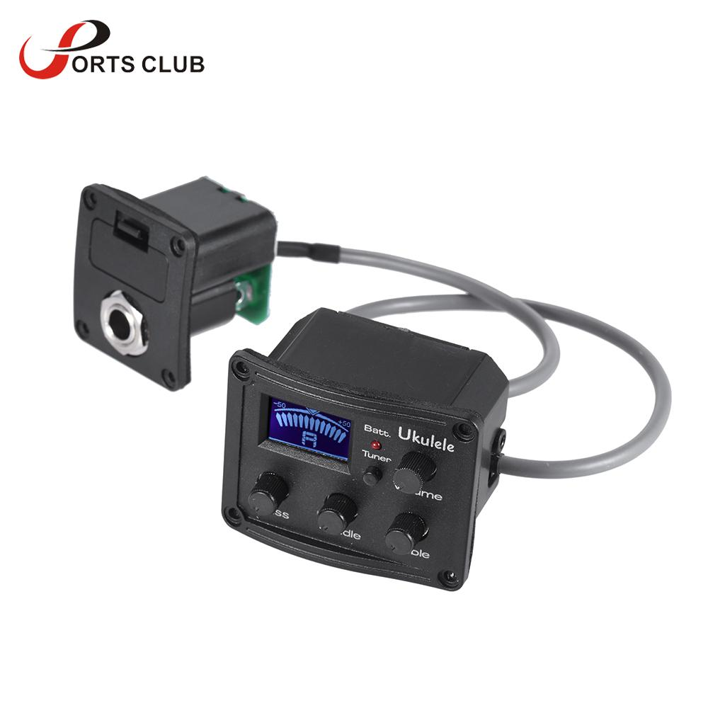 Fleor 2 Bands Eq Pickup Tuner Equalizer With Lcd Display Volume 3 Band Control For Ukelele