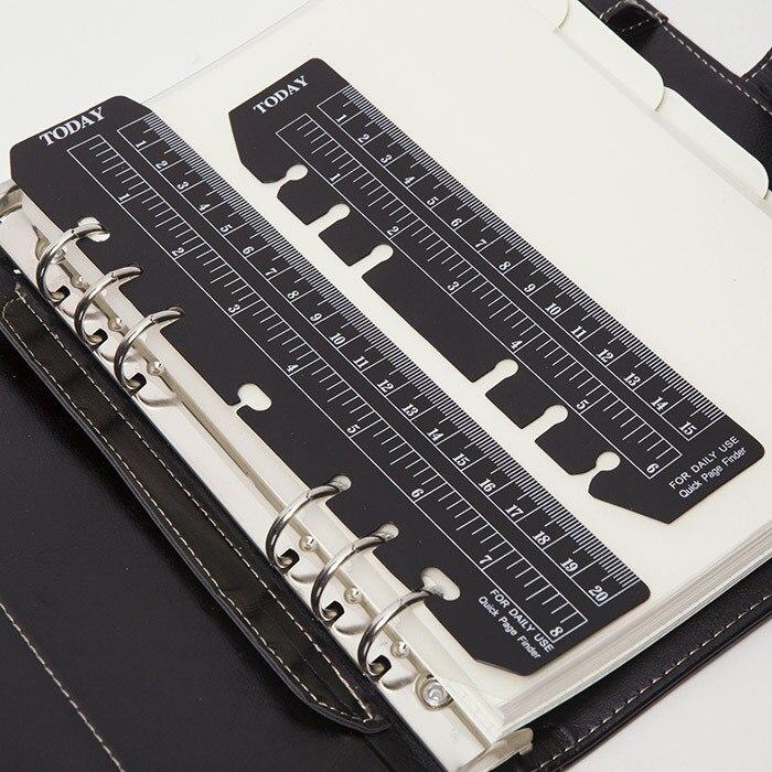 MIRUI Black Dull Polish Six Holes Loose-leaf Notebooks PVC Bookmark Simple Separate Ruler A5A6 Notebook Separate Rulers