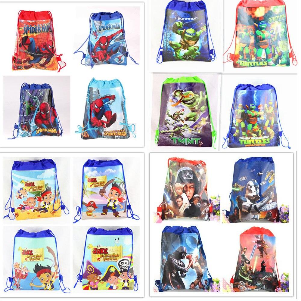 12 шт. Spiderman Звездные войны TMNT Мультфильм Дети Drawstring печатных рюкзак школы путешествие партия Сумки ...