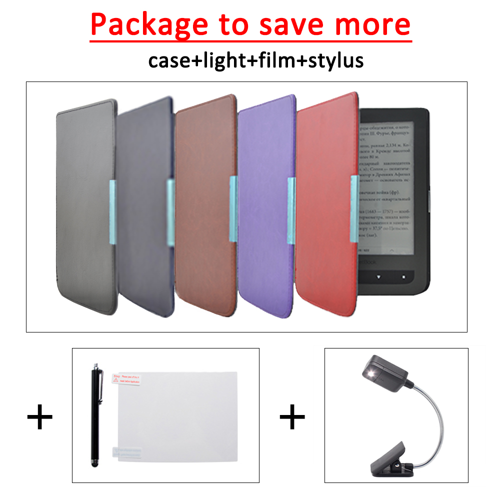 Magnetic cover case for pocketbook basic touch 614/615/625 ereader+gifts high quality faux leather stand cover case for pocketbook touch 622 623 624 626 ebook ereader