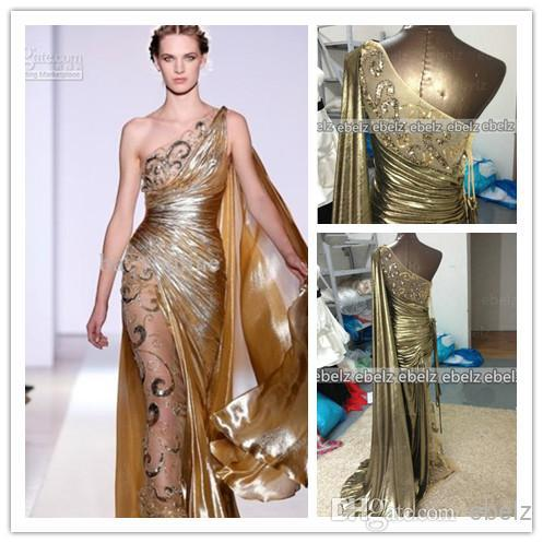 One Shoulder Gold Pageant Gown Zuhair Murad Haute Couture Liques Shine Evening