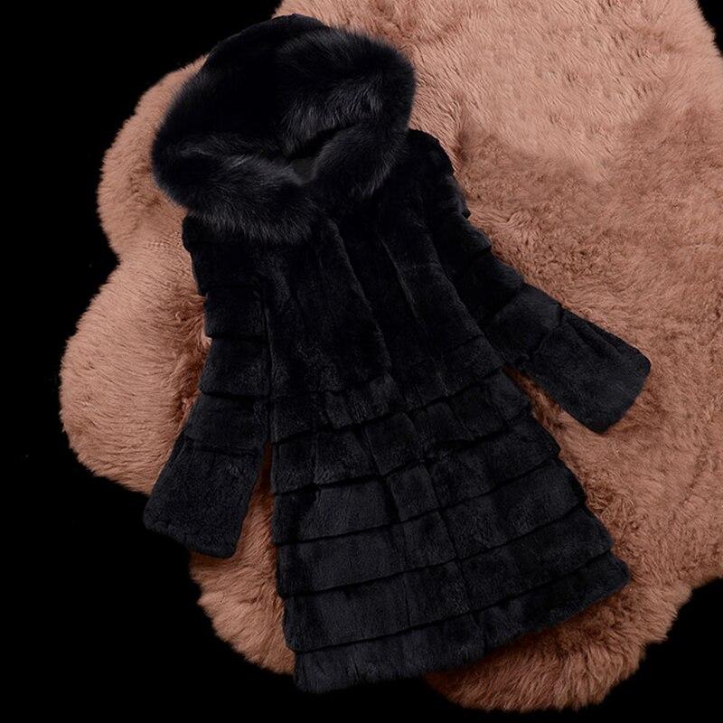 Brand Fur Factory High Quality Pure Real Fur Coat Rabbit Fur Hood With Natural Fox Fur Collar Classical Women Clothes  Sr630