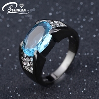 2015 New Fashion Jewelry Size 8 9 10 11 12 Aquamarine Sapphire Ring 10KT Black Rhodium