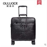ouluoer 2019 Crocodile leather suitcase password leather suitcase pull rod suitcase man wanxiang round 18 boarding box men