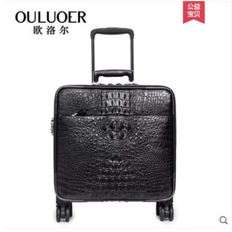 Ouluoer 2019 Crocodile Leather Suitcase Password Leather Suitcase Pull Rod Suitcase Man Wanxiang Round 18