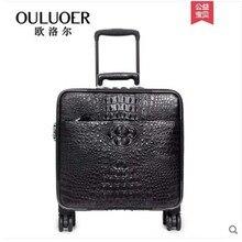 ouluoer 2019 Крокодил кожаный чемодан пароль кожаный чемодан тяга чемодан человек усян круглый 18