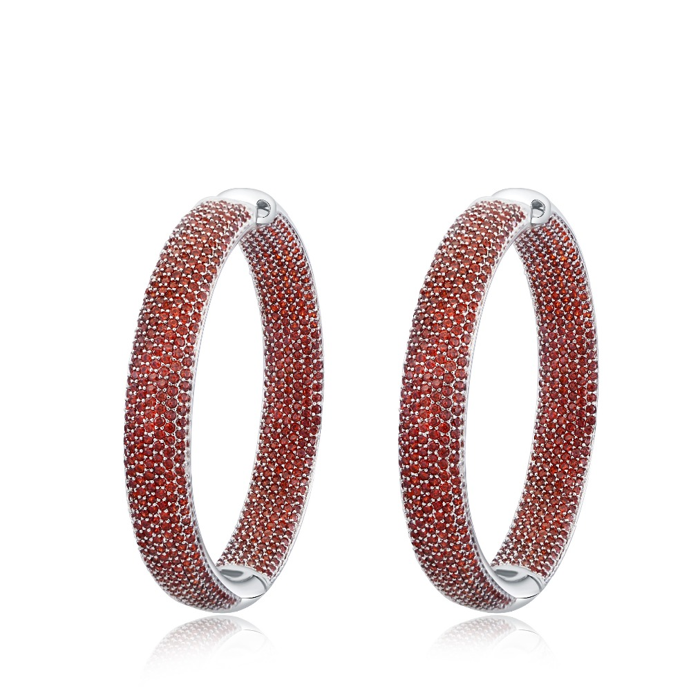 Hoop earring for night bar party Women Circle Earrings Micro Cubic Zirconia crystal 925 Sterling Silver