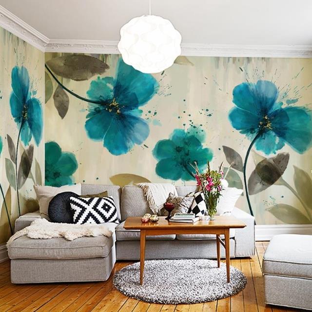 Online 2017 Large Murals Painted Gouache American Art Wallpaper Home Decor For Bedroom Living Room