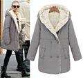 2016 new winter coat women plus velvet thick warm long-sleeved plus size women clothing fashion padded cotton jacket women