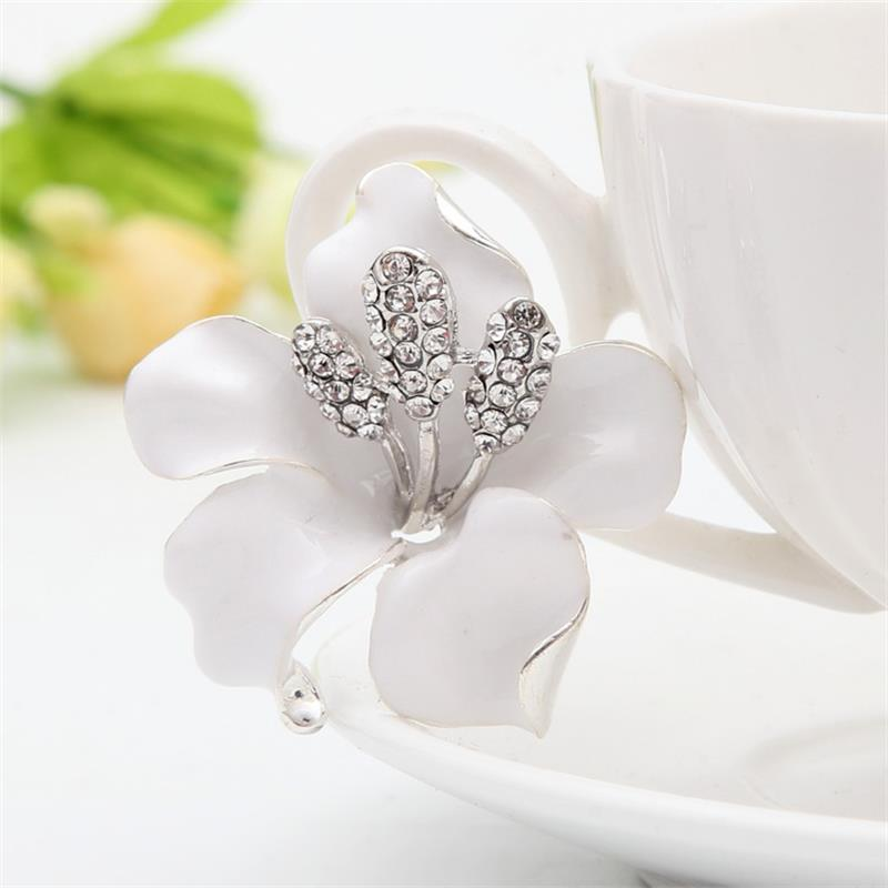 Meajoe Trendy Rhinestone Crystal Lily Flower Broches Rose Red Five - Bisutería - foto 2