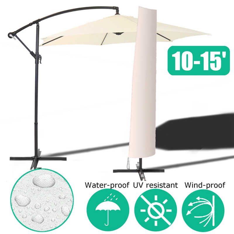 Waterproof Garden Patio Parasol Umbrella Rain Cover Polyester Canopy Sunblock Protective Cover Bag Outdoor Rain Gear Accessories