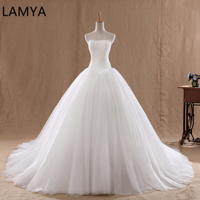 LAMYA Wedding-Dress Bridal-Ball-Gown Court-Train Organza Strapless Vintage Tulle Lace