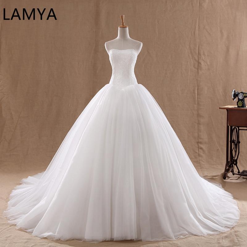 LAMYA Court Train Wedding Dress 2019 Cheap Celebrity Strapless Vintage Tulle Bridal Ball Gown Organza Lace Bridal Dresses