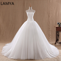 LAMYA Court Train Wedding Dress 2019 Cheap Celebrity Strapless Vintage Tulle Bridal Ball Gown Organza Lace bridal dresses