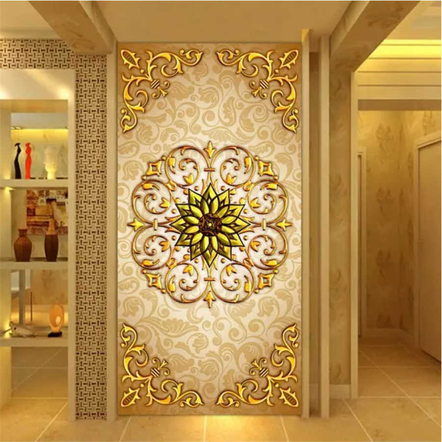 beibehang Custom double-sided art wallpaper 3d background wall stereo flower carving living room simple porch screen wallpaper