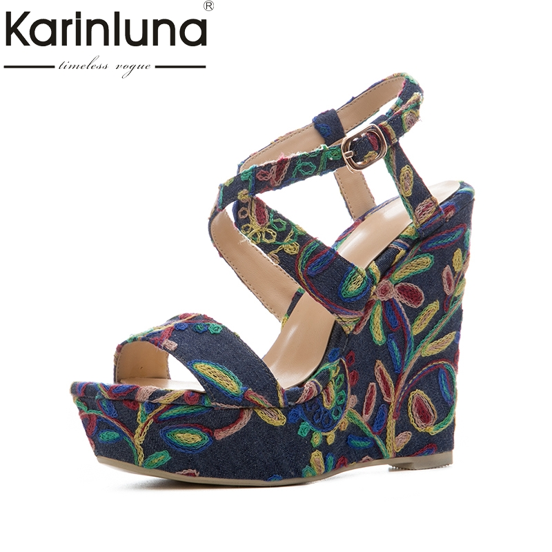 KarinLuna 2018 size 34-41 platform embroidery brand shoes woman flowers wedges high heels party summer shoes sandals women retro embroidery women wedges sandals summer style platform shoes woman casual thick high heels creepers slippers plus size 9