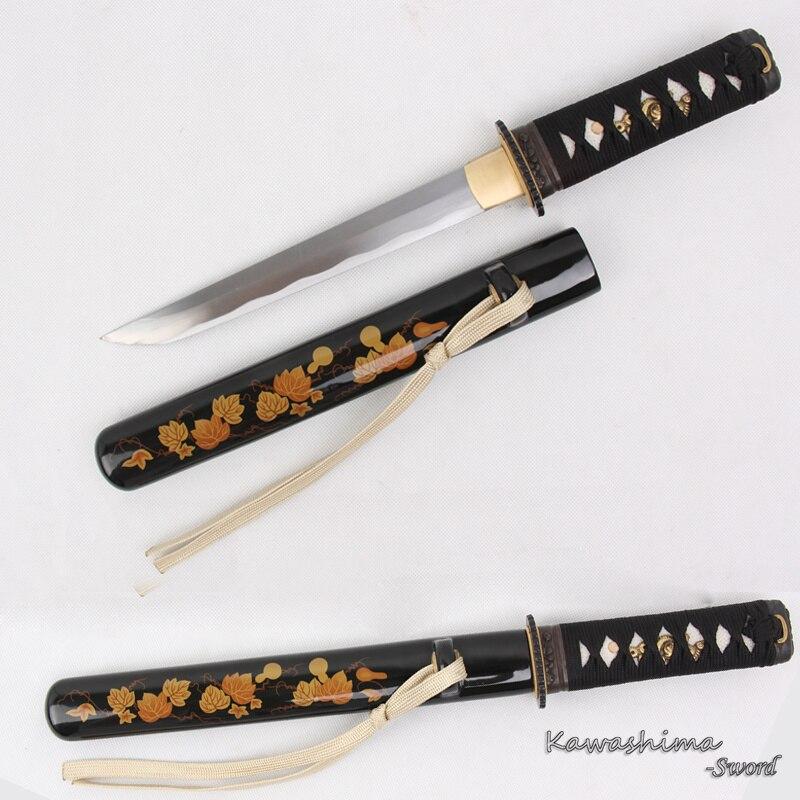 Hecho a mano Samurai espada japonesa Wakizashi Tanto 1045 acero al carbono Cuchillo pequeño listo nitidez listo para cortar papel