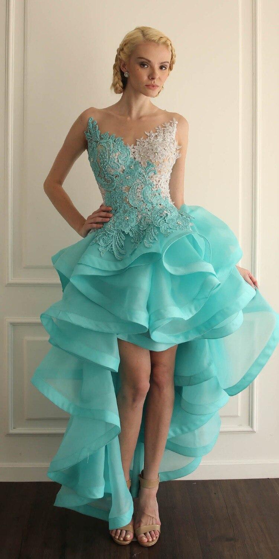 05ba57f212 Vestidos de graduacion de primaria cortos azul turquesa - Vestidos mujer