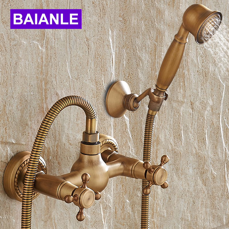 Wall Mounted Antique Brass Shower Set Faucet+Bath Tub Mixer Tap+Double Handles Hand Held Shower Head Kit Shower Faucet Sets polished chrome double cross handles wall mounted bathroom clawfoot bathtub tub faucet mixer tap w hand shower atf902