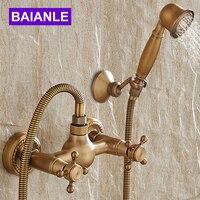 Wall Mounted Antique Brass Shower Set Faucet+Bath Tub Mixer Tap+Double Handles Hand Held Shower Head Kit Shower Faucet Sets
