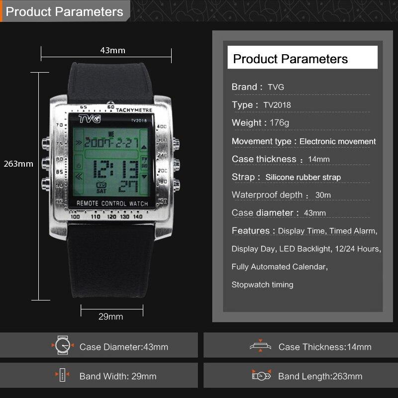 TVG Mode Mannen Sport Horloges Smart Remote Militaire Horloge LED - Herenhorloges - Foto 5