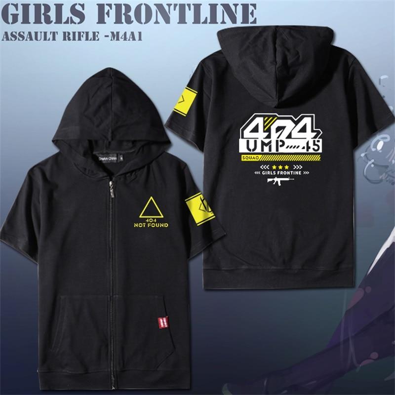 Jeu filles Frontline UMP45 équipe AR Cosplay été à manches courtes T shirt Tee hauts hommes femmes Zipper à capuche T-shirt style décontracté quotidien
