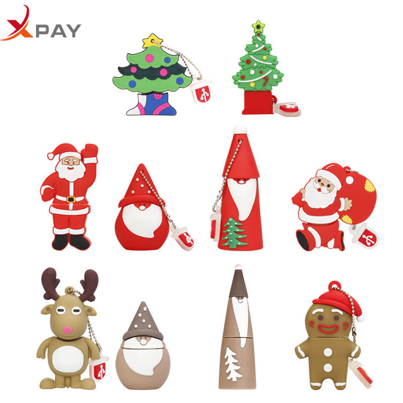 USB Flash Drive 128GB 32GB Pendrive Silicone Christmas Gift flash memory 2.0 4GB 8GB 16GB 64GB Elk Deer Pen Drive Cartoon u disk-in USB Flash Drives from Computer & Office