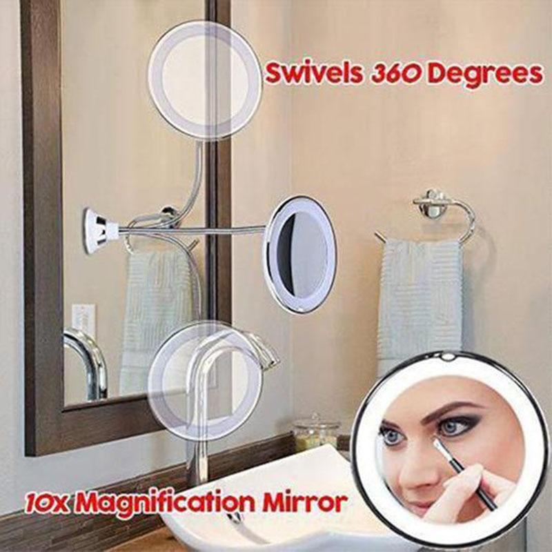 360 Rotation Flexible Gooseneck 10x Magnifying LED Lighted Bathroom Makeup Shaving Mirror Adjustable Bendable