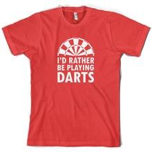 Id Rather Be Playing Darts- Mens T-Shirt - 10 Colours Bullseye 180 Dart Name Print T Shirt Short Sleeve Hot Tops