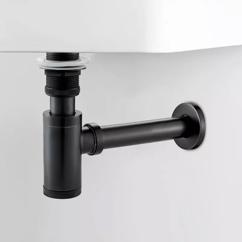 LIUYUE Basin Pop Up Drain Black Brass Bottle Trap Bathroom Sink Siphon Drains With Pop Up Drain Kit P-TRAP Pipe Waste Hardware