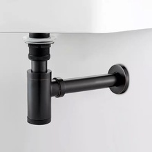 LIUYUE Basin dren czarny mosiądz umywalka do łazienki syfon odpływy pułapka na butelki z zestawem dren P TRAP rury odpady