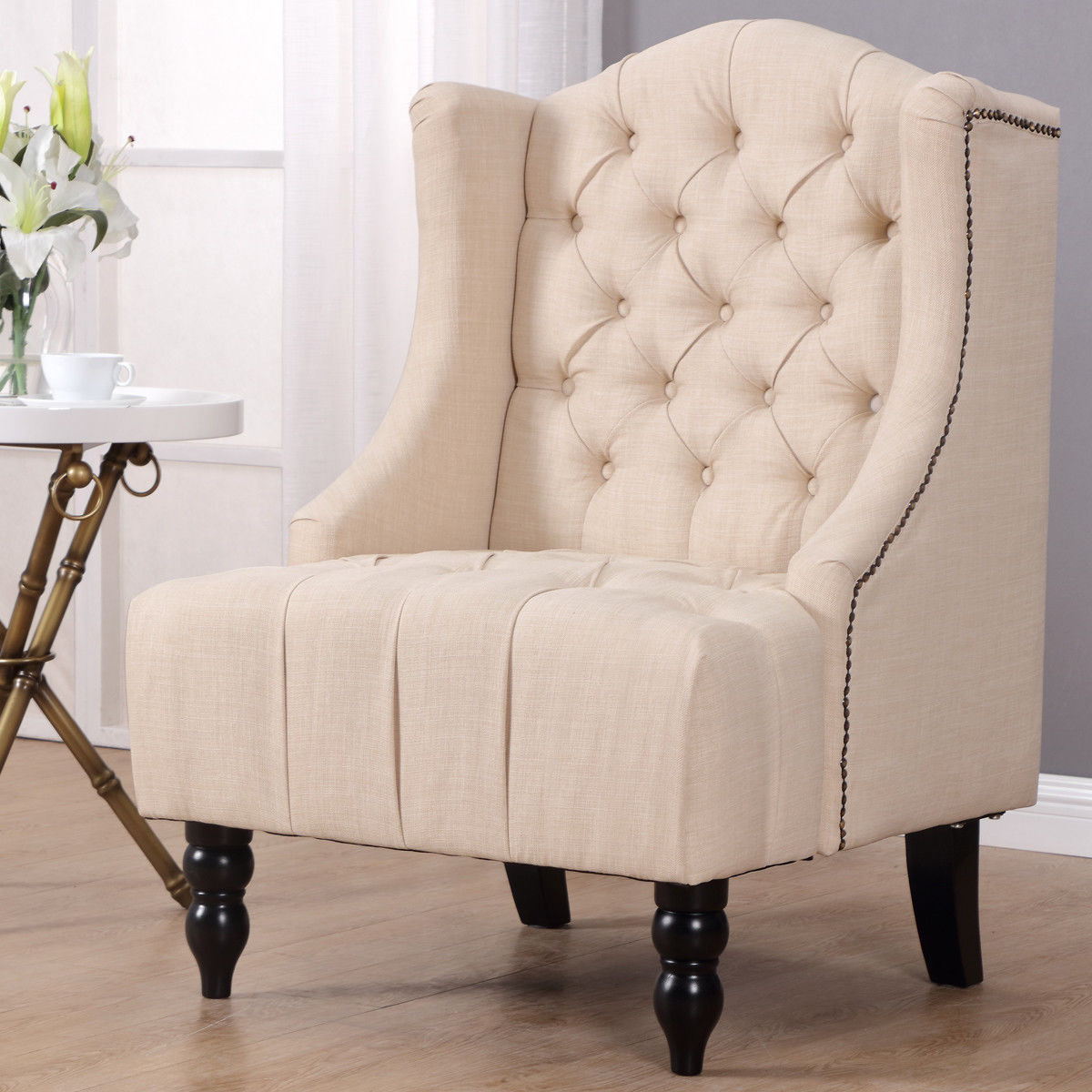 Aliexpress com giantex modern tall wing back tufted accent armchair fabric vintage living room sofa chair nailhead beige furniture hw57313be imall com