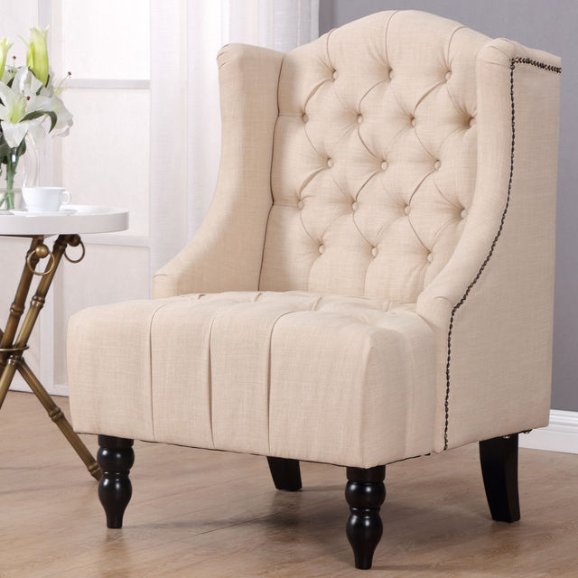 Giantex Modern Tall Wing Back Tufted Accent Armchair Fabric Vintage Living  Room Sofa Chair Nailhead Beige