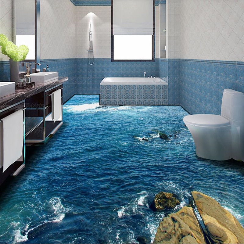 Modern floor painting hd blue sea reef scenery waterproof - Waterproof floor paint for bathrooms ...