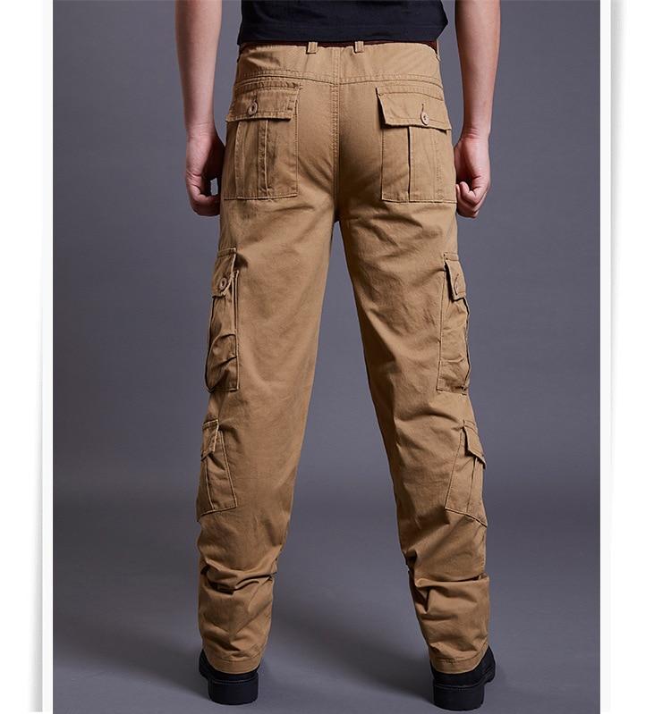 Icpans Winter Tactical Black Cargo Pants Men Loose Fit Military Style Side Pockets Army Black Denim Casual Men Pants Size 40 42 9