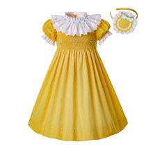 2bdff9610 Pre-sale Summer Yellow Smocked Party Dresses For Toddlers Round Collar  Smocked Baby Smocked Easter Girls Dress G-DMGD201-B489