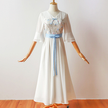 Wedding Party Dress V-neck Chiffon Long for Flowers Embroidery Women Vintage White Bridesmaid