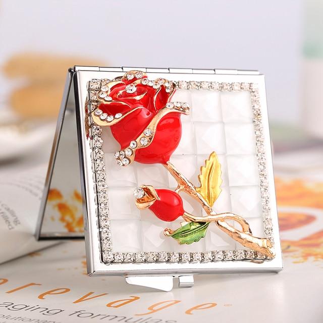מיני יופי איפור קומפקטי כיס מראה, מסיבת חתונת שושבינה ילדה חבר מתנות מזכרות, בלינג קריסטל ריינסטון רוז פרח