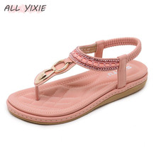 ALL YIXIE Summer Woman Open Toe Leather Flat Sandals Beach Rhinestone Female Slippers Slides Comfortable Flat Shoes Flip Flop peep toe flat buckle shoes bohemia flip flop beach beads sandals flat wedges shoes lovely footwear foot toes comfortable to wear