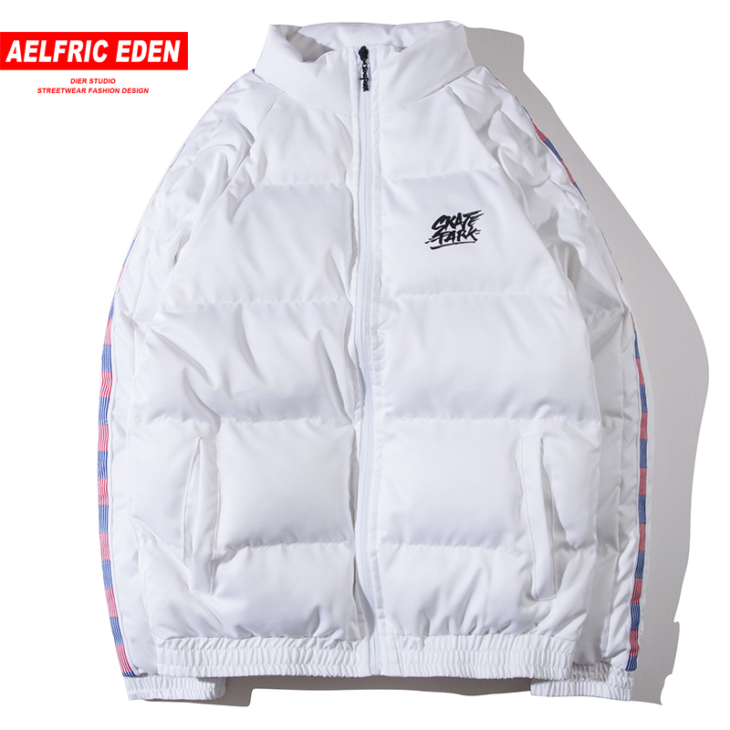 Aelfric Eden Male Parkas White Jacket Colorful Striped Skateboard Streetwear 2018 Winter Warm Gothic Parka Men Swag Clothes Sp14
