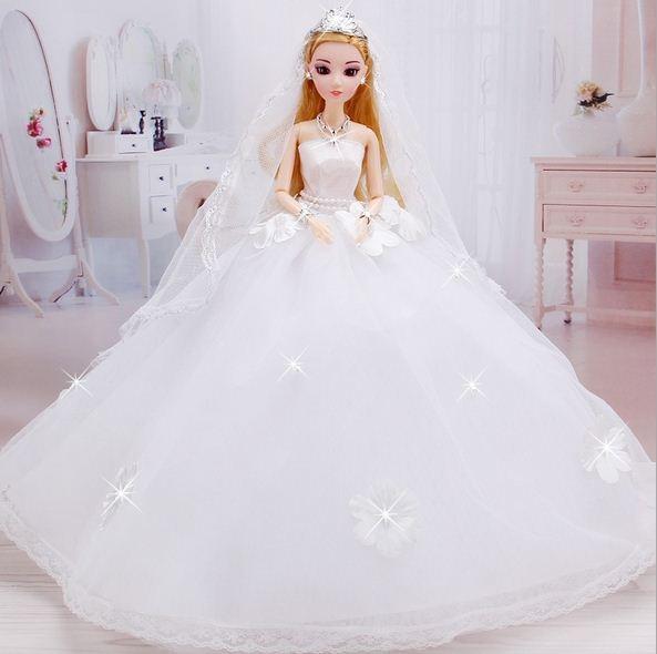 Vestido de noiva para Boneca Barbie Princesa Roupas de