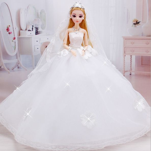 Wedding Dress for Barbie Doll Princess Evening Party Clothes Wears Long Dress Outfit Set for Barbie Doll with Veil leadingstar 2017 new wedding bridal dress princess gown evening party dress doll clothes fit for barbie doll for kids gift zk30