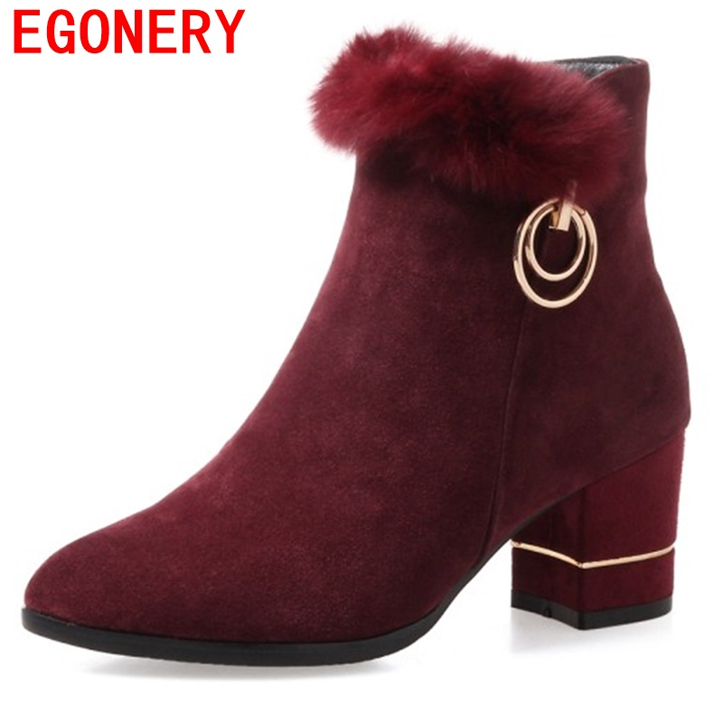 egonery ankle boots woman 2017 winter new style shoes woman pointed toe Frosted leather booties high heels side zipper fur shoes egonery quality pointed toe ankle thick high heels womens boots spring autumn suede nubuck zipper ladies shoes plus size