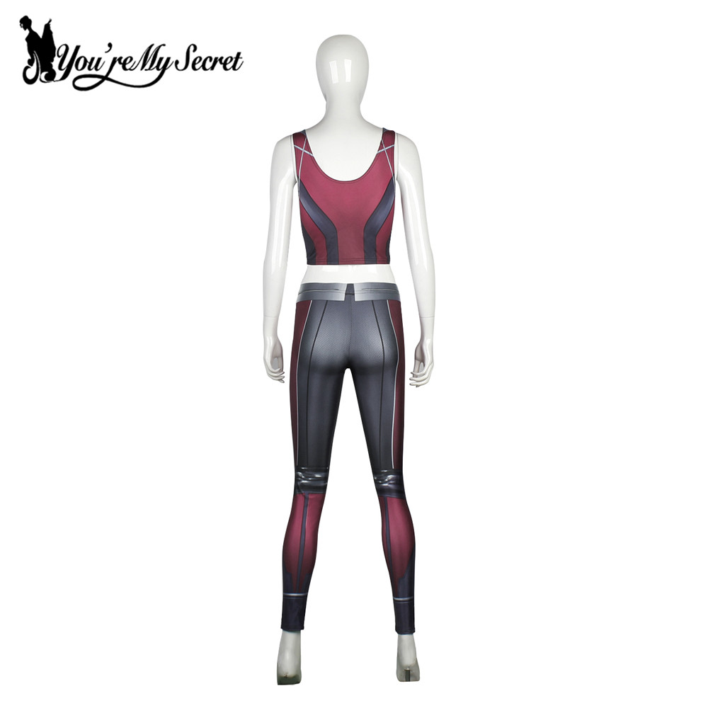 [Tu es mon secret] Mode Armure Rouge Bande Dessinée Cosplay Leggings - Vêtements pour femmes - Photo 4