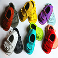 Las borlas del cuero genuino del verano del bebé mocasín zapatos del niño recién nacido inferiores suaves bebés zapatos del pesebre primeros caminante