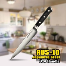 SS-0023 6 Inch (125mm) Utility Knife 3 Layers AUS-10 Japanese Stainless Steel G10 Black Kitchen Blade Chef
