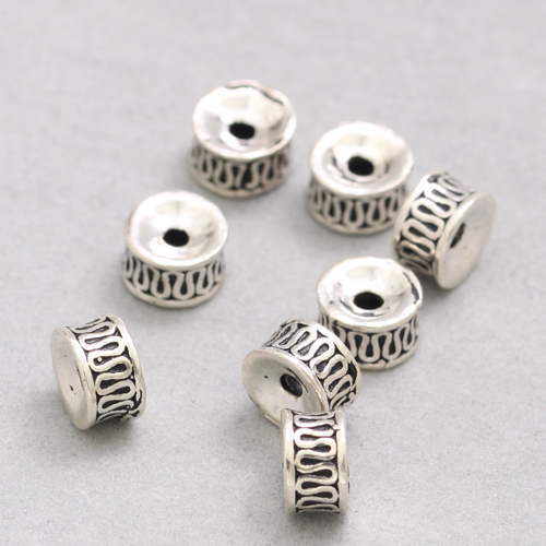 Per 2 pcs 925 Sterling Silver Findings-Fine Textured Round Beads-Spacers-8mm