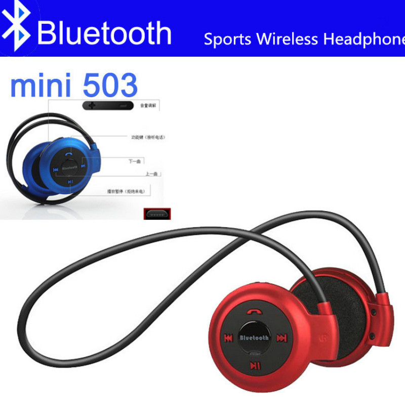 Mini 503 Bluetooth Headphone Handsfree MP3 Player Wireless Stereo Sport Headset Support TF Card FM Headband Headphone