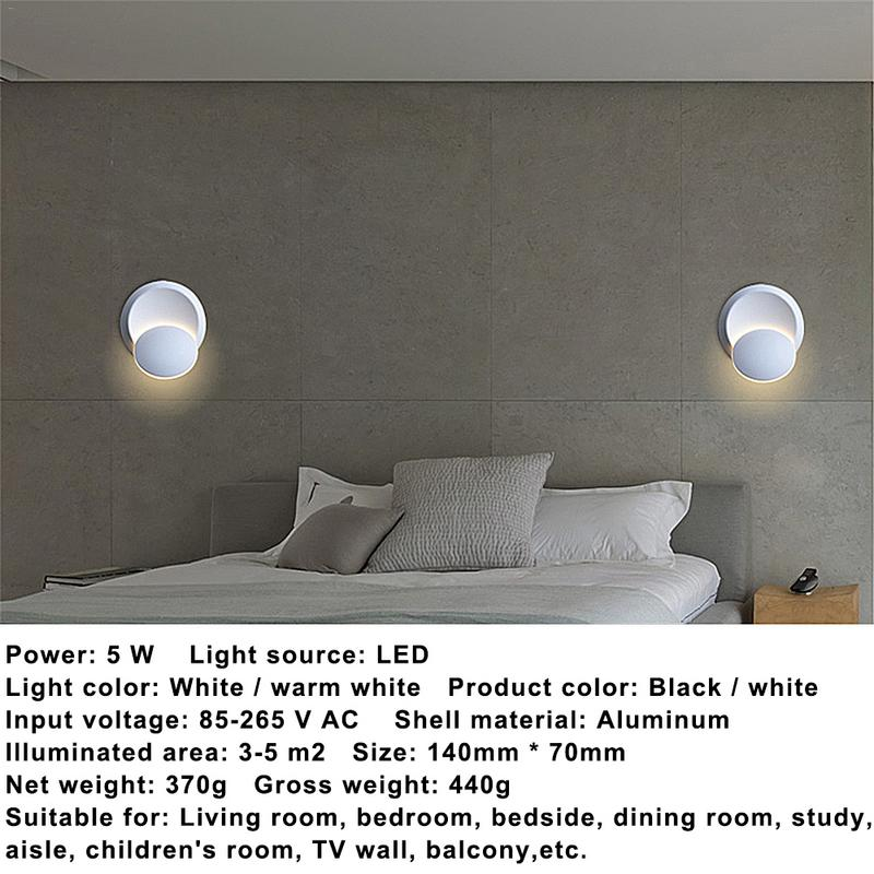 c1c4fef7502c LED Wall Lamp 360 Degrees Adjustable Rotation Night Light Black White  Creative Wall Lamp Modern Corridor Round Lamp-in LED Indoor Wall Lamps from  Lights ...