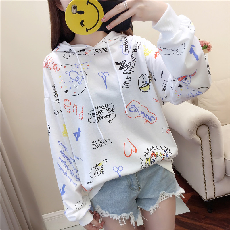 Hoodies & Sweatshirts Qing Mo 2018 Autumn Printing Pullover Sweatshirt Cartoon Stiching Leisure Black Plush Graffiti Women Pullover Sweatshirt Qf256